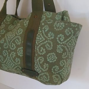 Cool Satchel Bags - Cool Crafted Green Canvas Jacguard Satchel